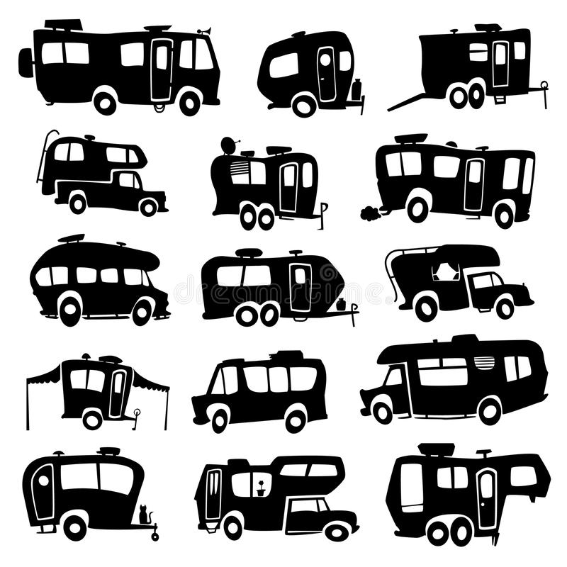 Ícones dos veículos recreativos ilustração royalty free