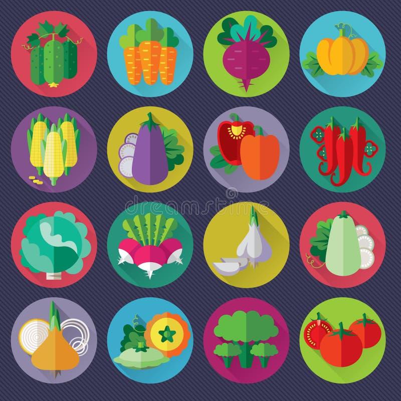 ícones dos vegetais ajustados ilustração stock