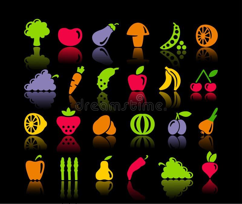 Ícones dos vegetais e do fruto ilustração stock
