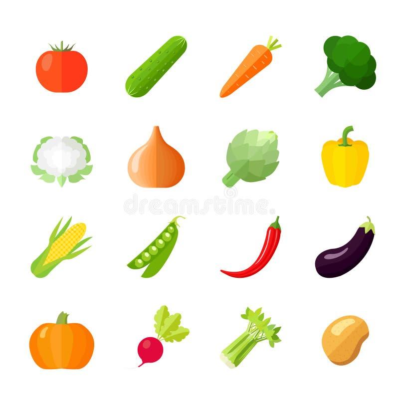 Ícones dos vegetais lisos ilustração do vetor