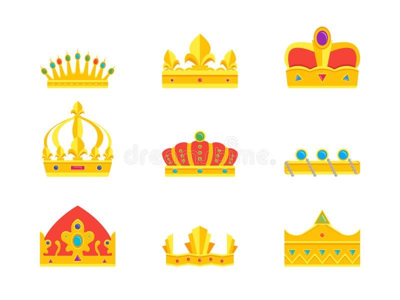 Ícones dourados reais da coroa dos desenhos animados ajustados Vetor ilustração royalty free