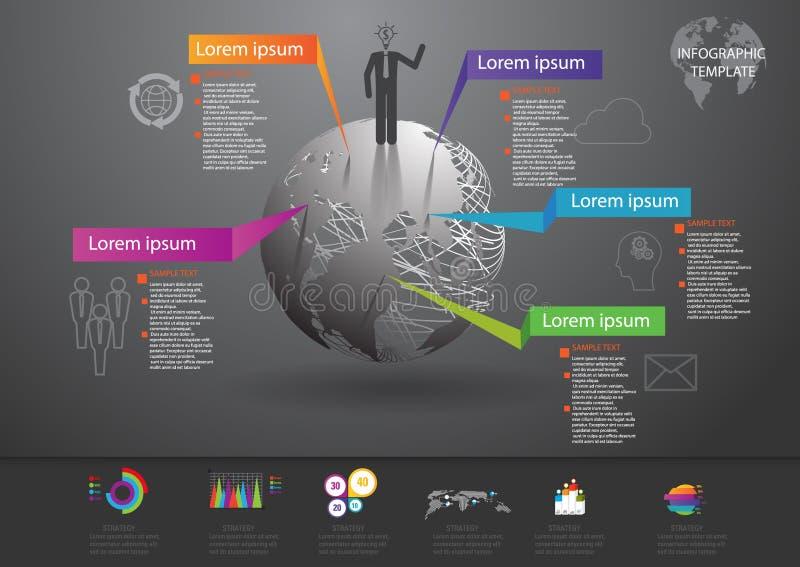 Ícones e Busi do mercado do projeto e do molde de Infographic ilustração do vetor