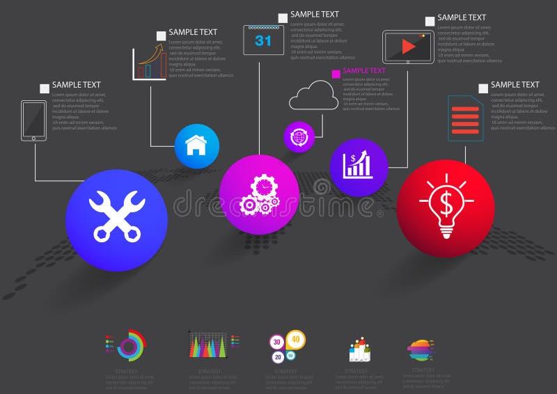 Ícones e Busi do mercado do projeto e do molde de Infographic ilustração royalty free