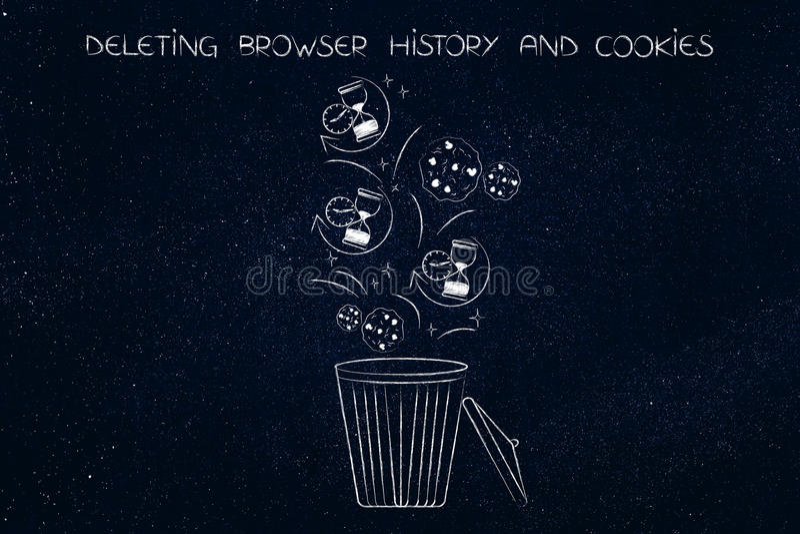 ícones e cookies da ampulheta da história do navegador que terminam acima no escaninho ilustração stock