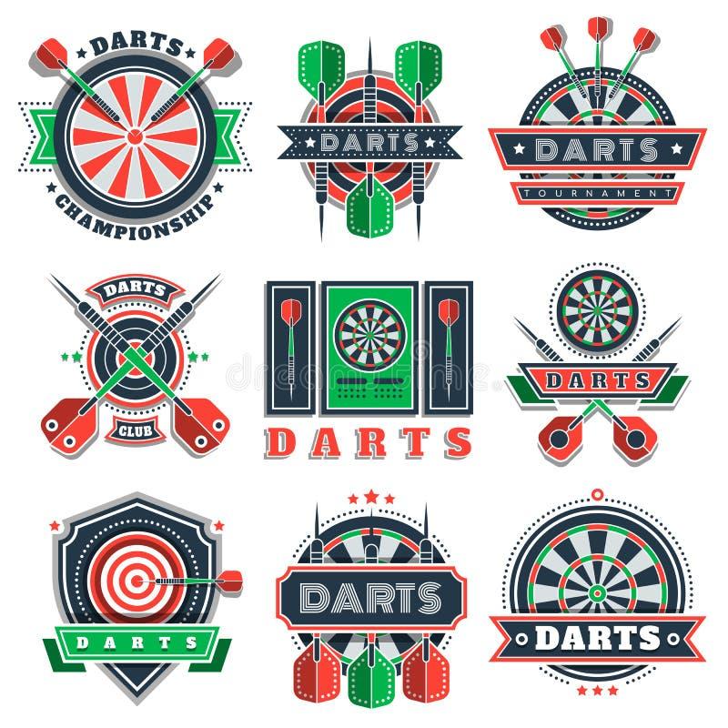 Ícones e crachás do competiam dos dardos para clubes de esporte ilustração do vetor