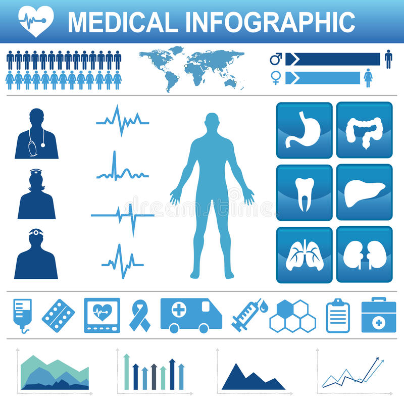 Ícones e elemento de dados dos cuidados médicos ilustração do vetor