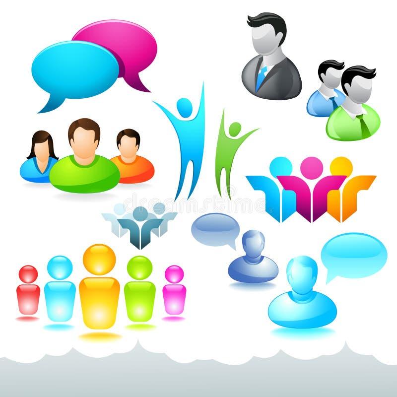 Ícones e elementos da rede dos povos ilustração stock