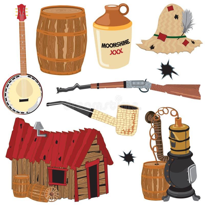Ícones e elementos do clipart do Hillbilly ilustração stock