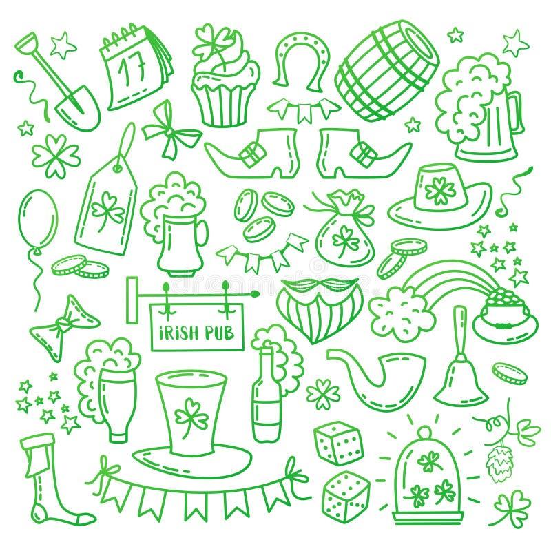 Ícones e elementos do dia de St Patrick s do irlandês isolados no fundo branco Mão tradicional símbolos irlandeses tirados do par ilustração do vetor