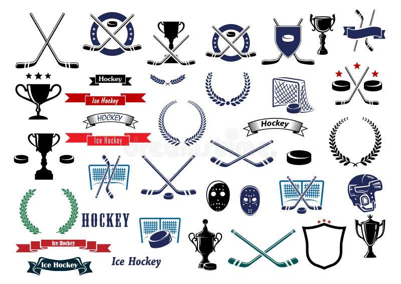 Ícones e elementos do jogo do esporte do hóquei em gelo ilustração stock