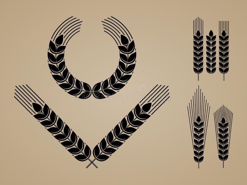 Ícones e Logo Set das orelhas do trigo ilustração do vetor