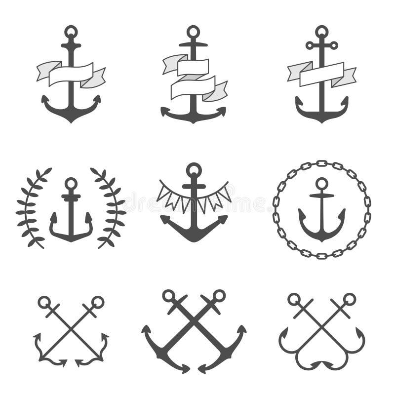 Ícones e logotipos da âncora do vetor ajustados ilustração stock