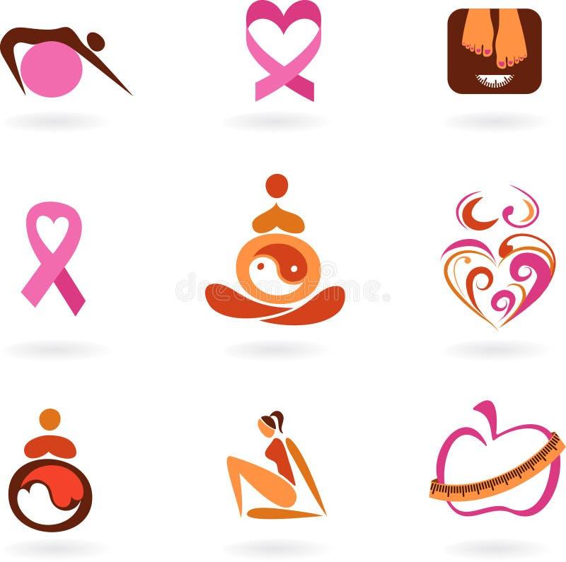 Ícones e logotipos fêmeas da saúde ilustração royalty free