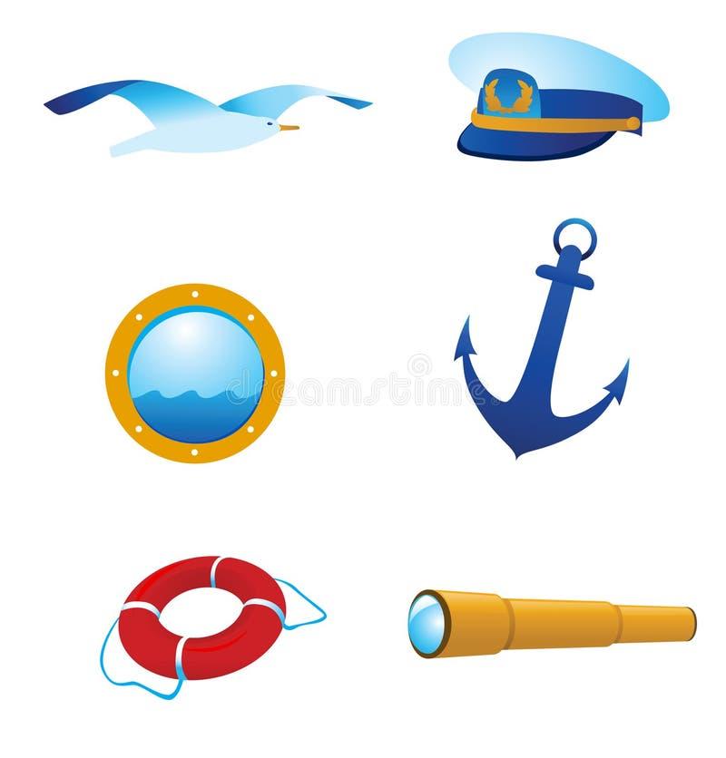 Ícones e logotipos náuticos do vetor