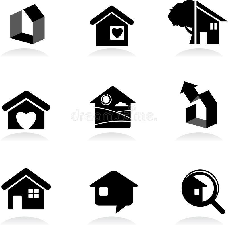 Ícones e logotipos Real-estate ilustração stock