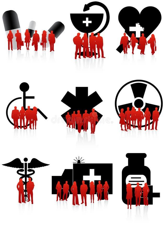 Ícones e povos médicos ilustração do vetor