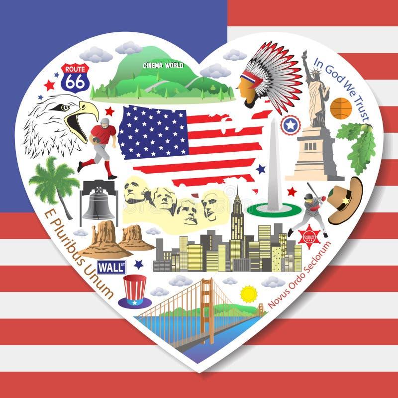 Ícones e símbolos americanos ajustados dos marcos ilustração stock