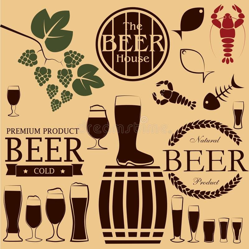 Ícones e símbolos da cerveja imagem de stock