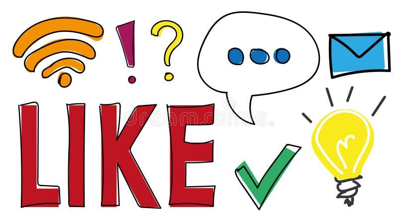 Ícones e símbolos tirados mão para a Web, aplicações móveis e meios sociais Como o botão, sinal dos wi fi, bolha do discurso, luz ilustração stock