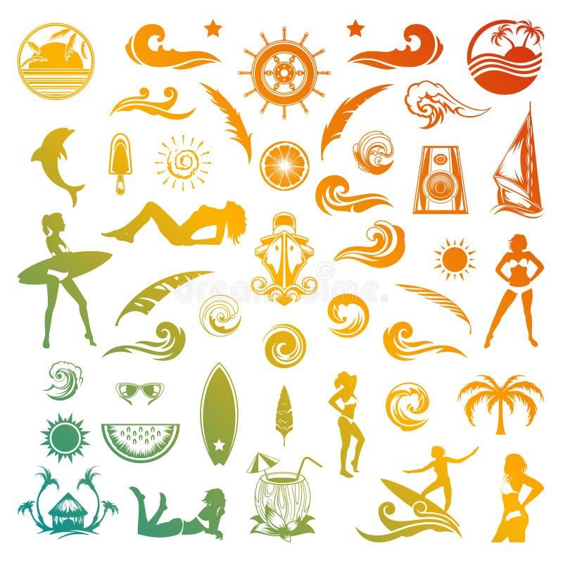 Ícones e silhuetas do vetor do verão no estilo retro ilustração stock