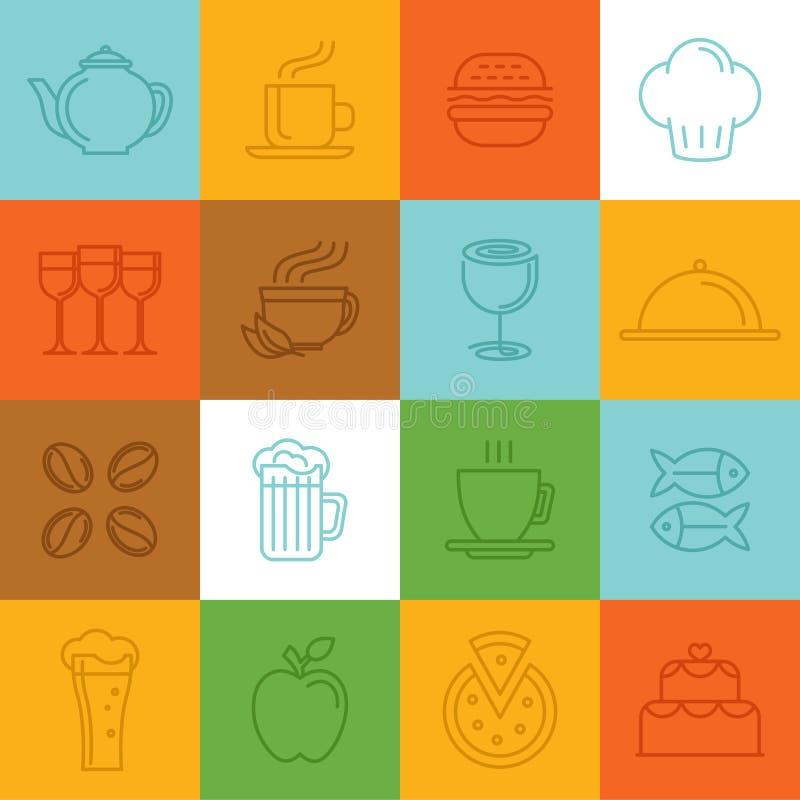 Ícones e sinais lineares do alimento do vetor ilustração do vetor
