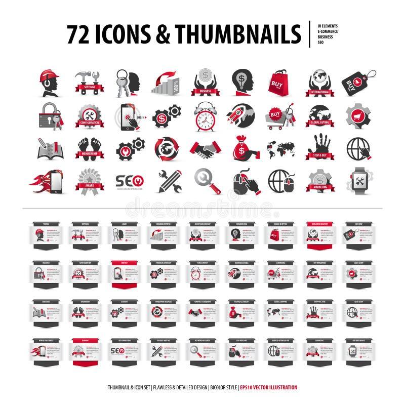 72 ícones e unhas do polegar ilustração do vetor