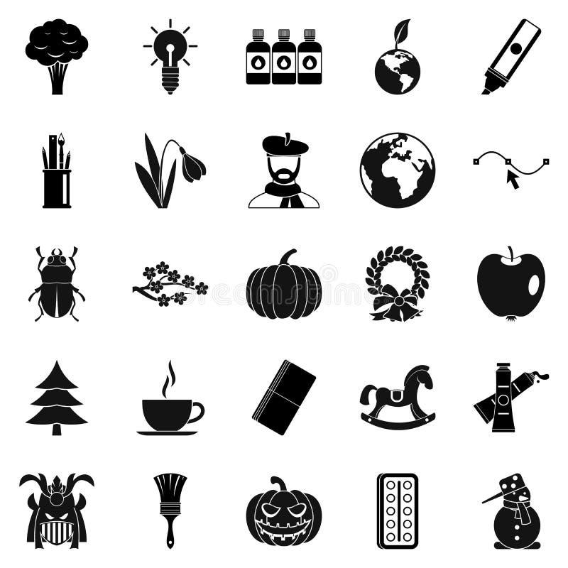 Ícones ecológicos ajustados, estilo simples da pegada ilustração royalty free