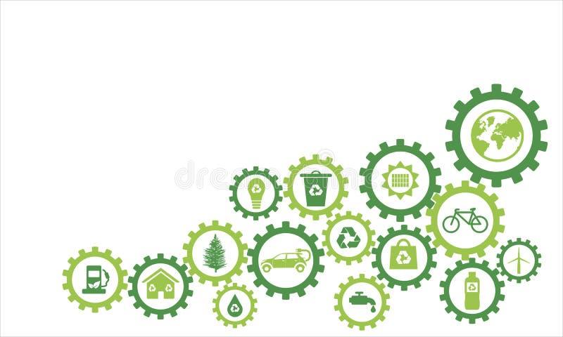 Ícones ecológicos da roda dentada de Infography ilustração stock