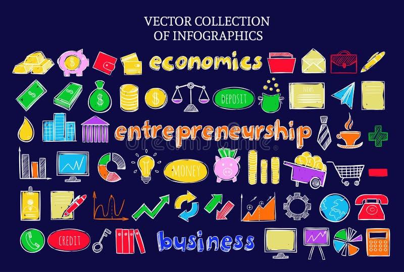 Ícones econômicos do negócio colorido de Infographic ajustados ilustração do vetor