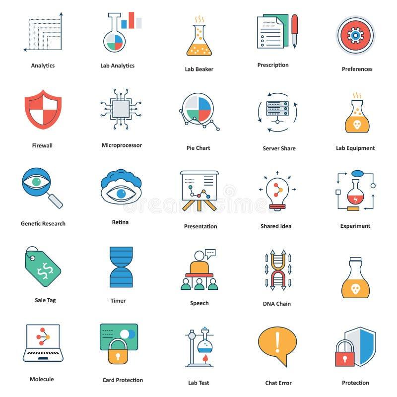 ícones editáveis médicos e da tecnologia da linha e do vetor da suficiência de cor ilustração royalty free