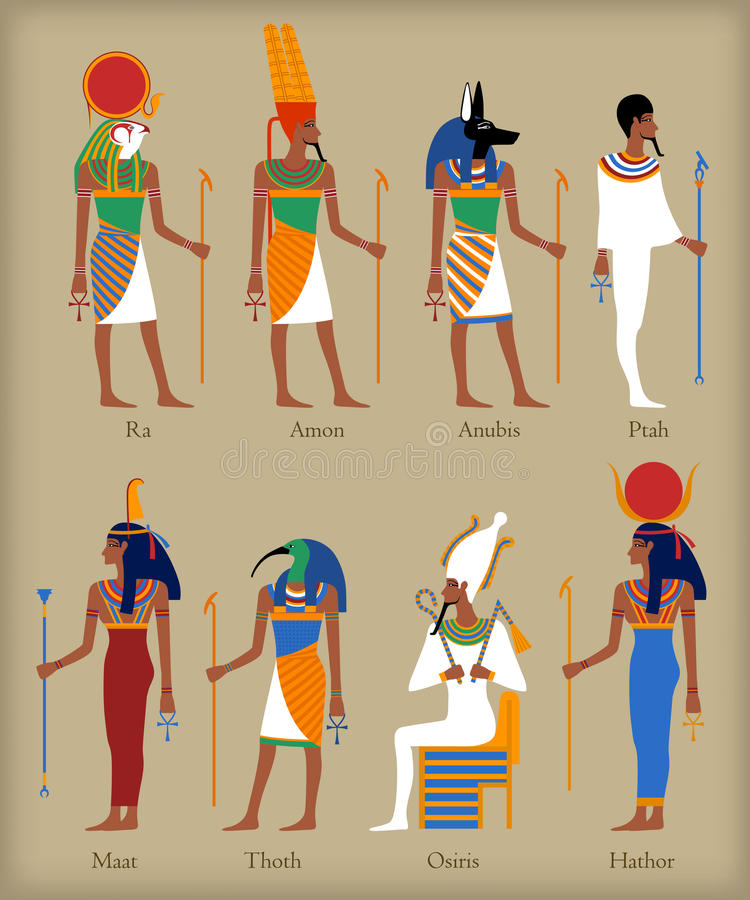 Ícones egípcios dos deuses ilustração royalty free