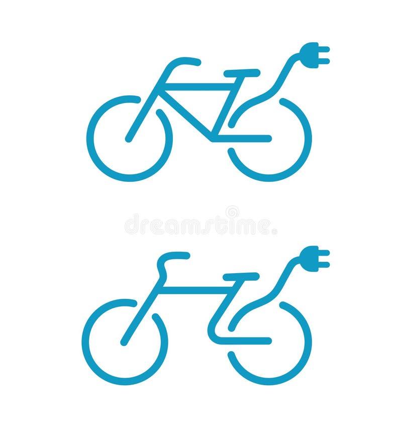 Ícones elétricos da bicicleta ilustração royalty free