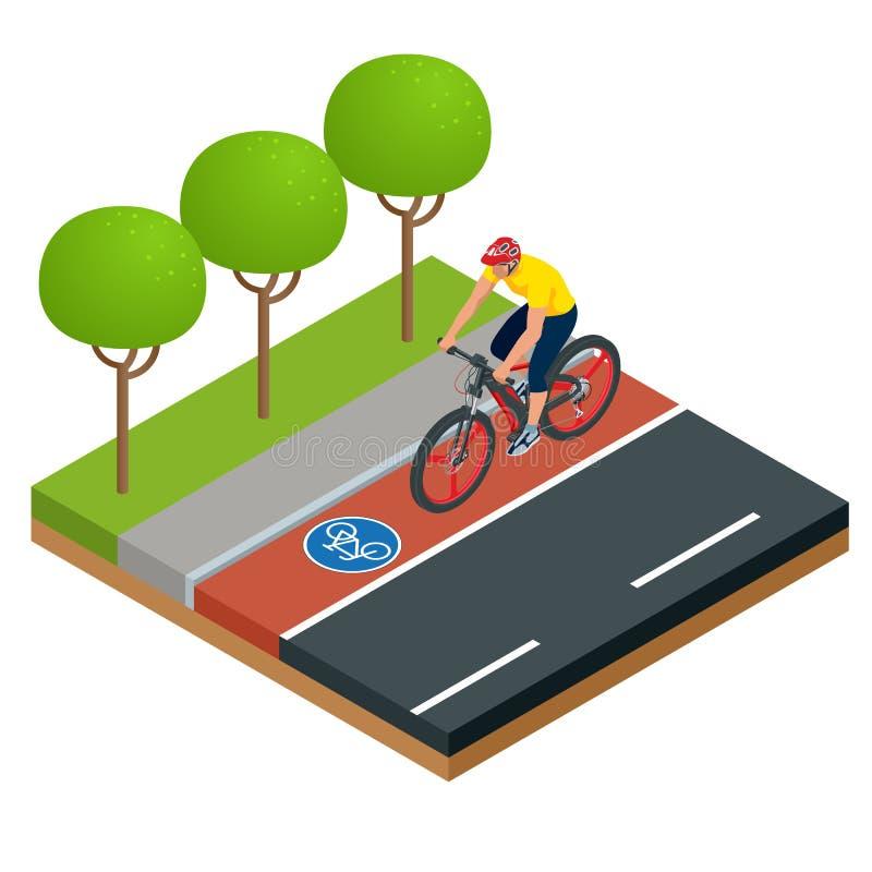 Ícones elétricos modernos isométricos da bicicleta Um homem que monta uma bicicleta elétrica em uma cidade E-bicicleta, projeto u ilustração do vetor