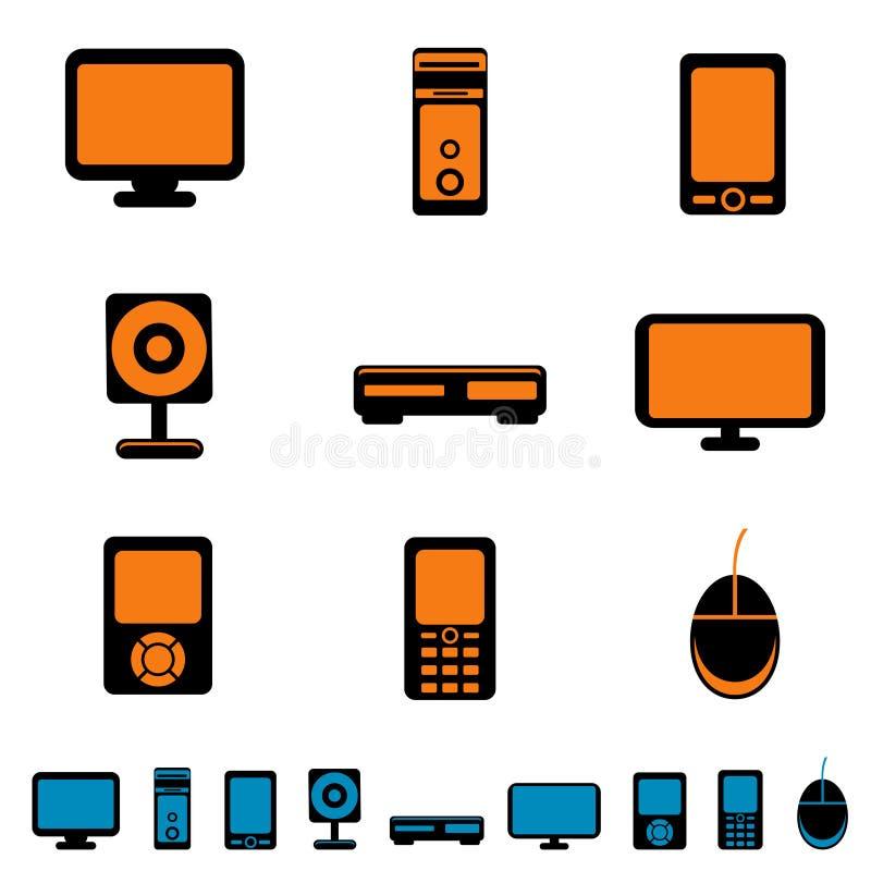 Ícones eletrônicos ilustração stock