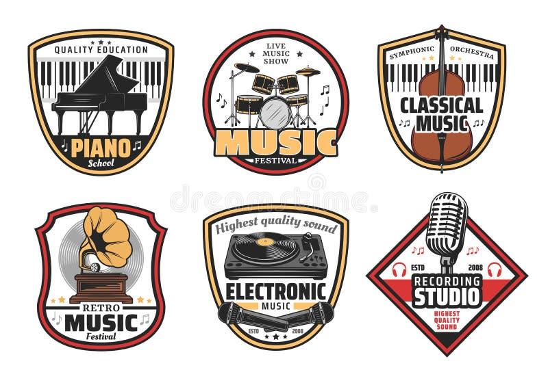 Ícones eletrônicos, retros e clássicos da música ilustração do vetor