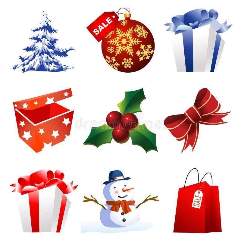 Ícones elevados do Natal do detalhe ilustração royalty free