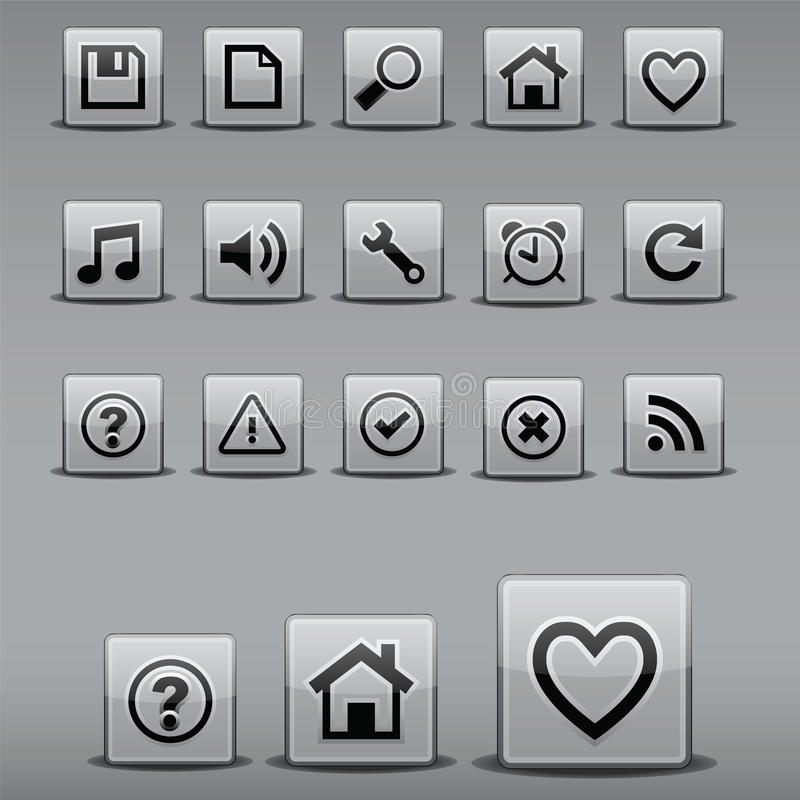 Ícones em formas quadradas imagens de stock royalty free