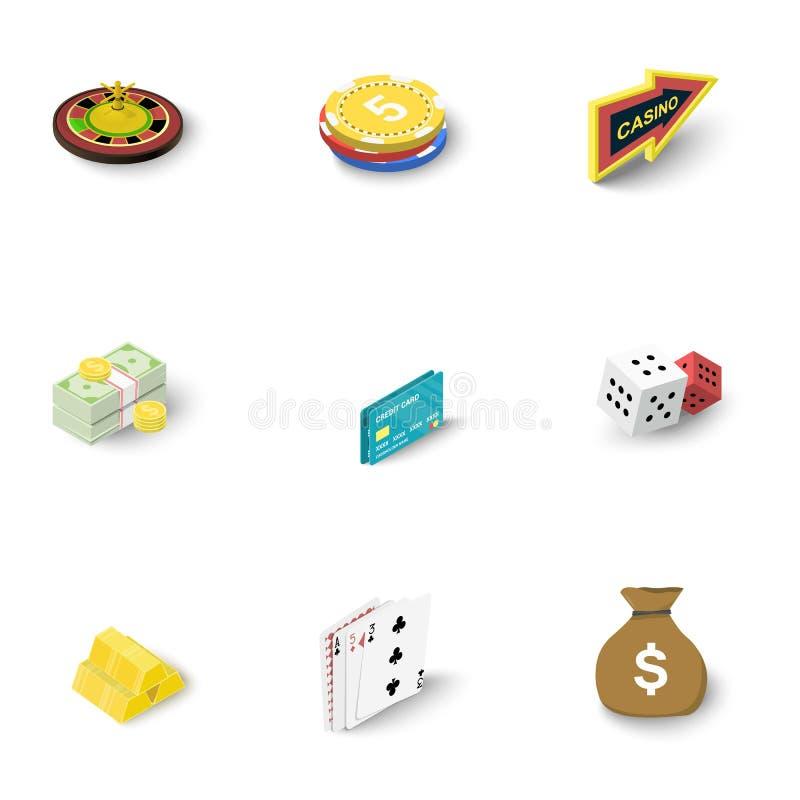 Ícones em linha ajustados, estilo isométrico do casino ilustração royalty free