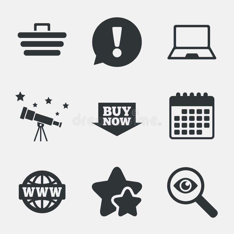 Ícones em linha da compra PC do caderno, carro, compra ilustração stock