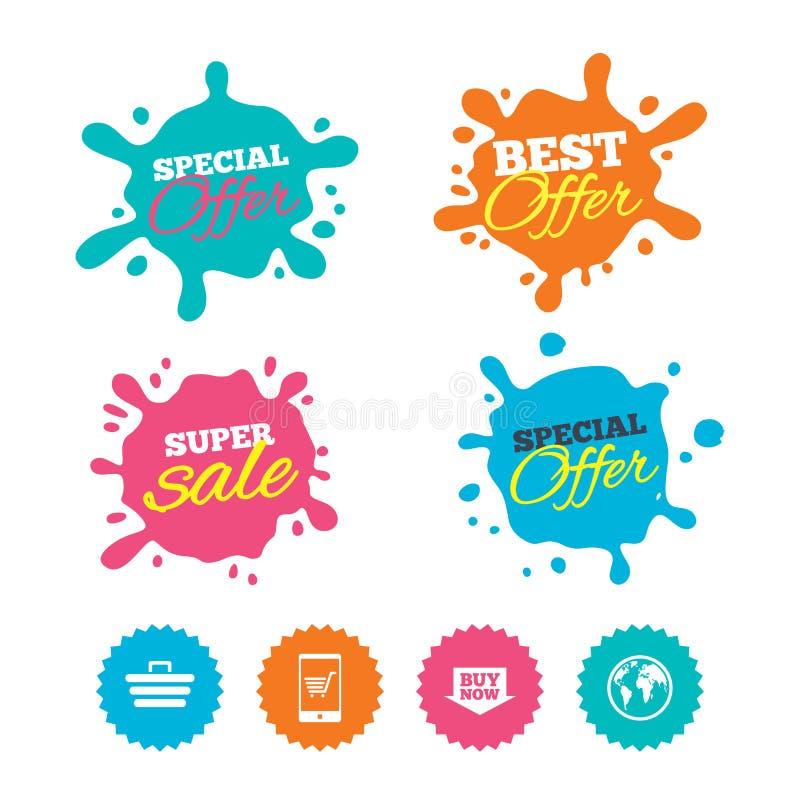 Ícones em linha da compra Smartphone, carro, compra ilustração stock