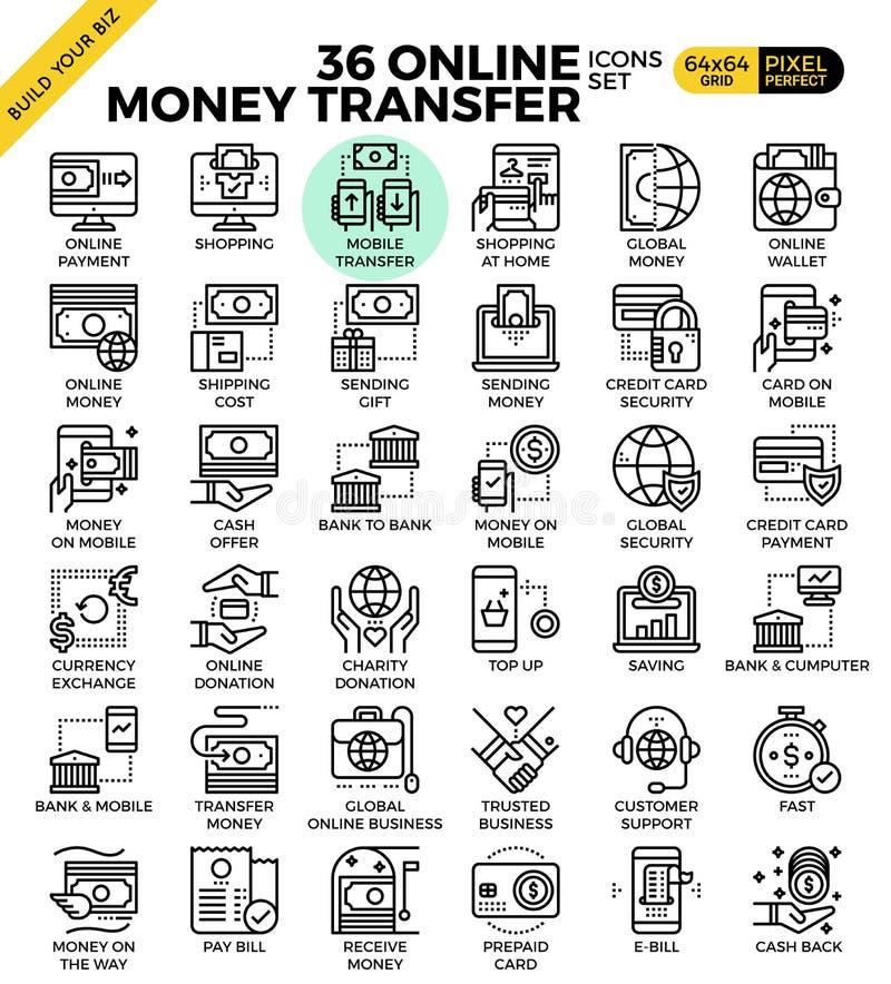 Ícones em linha do pagamento de transferência do dinheiro ilustração royalty free