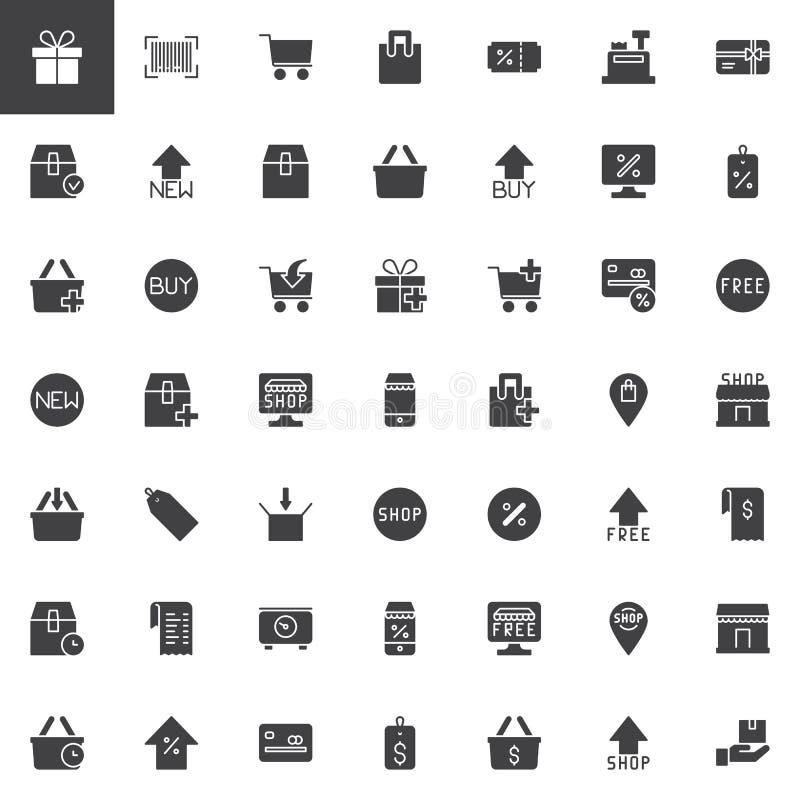 Ícones em linha do vetor da compra ajustados ilustração stock