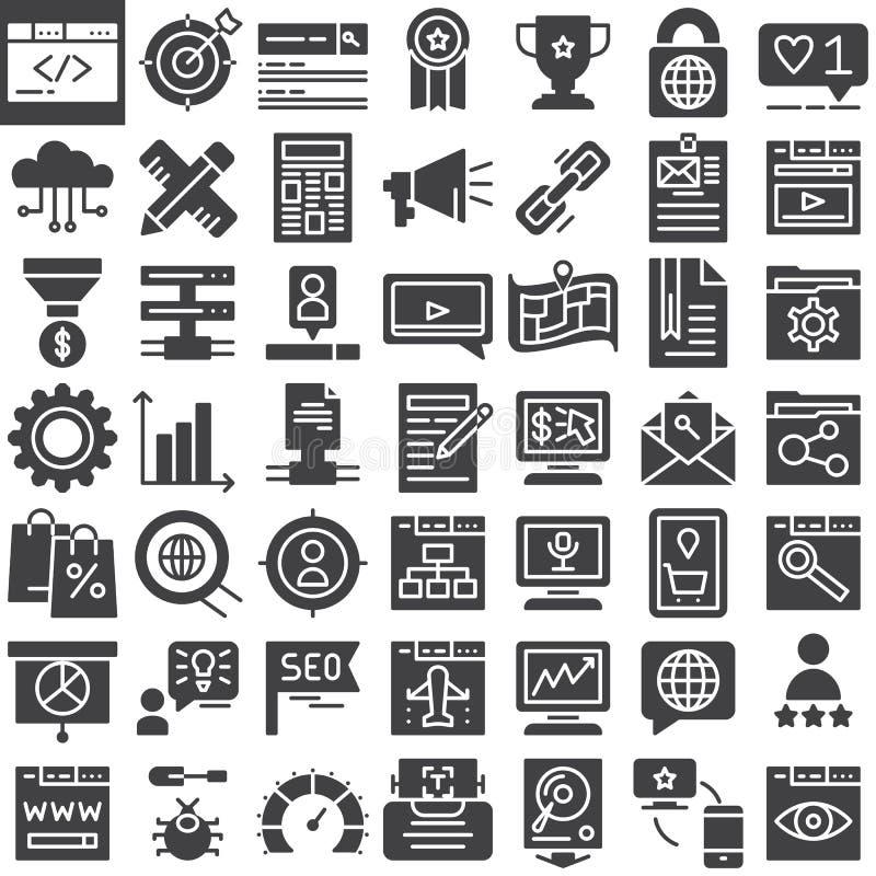 Ícones em linha do vetor do mercado de Seo ajustados ilustração do vetor