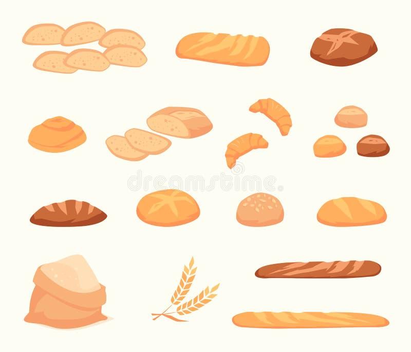 Ícones em um estilo liso do pão ilustração stock