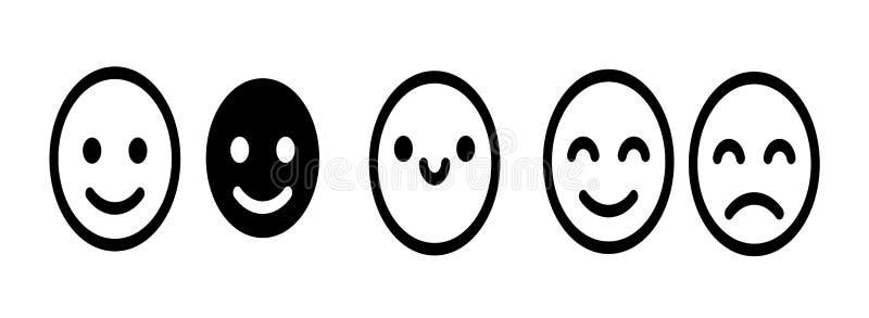 Ícones emoji de sorriso Os Emoticon enfrentam símbolos de linha sorridentes, kawaii, bonitos, felizes e tristes para o design do  ilustração do vetor