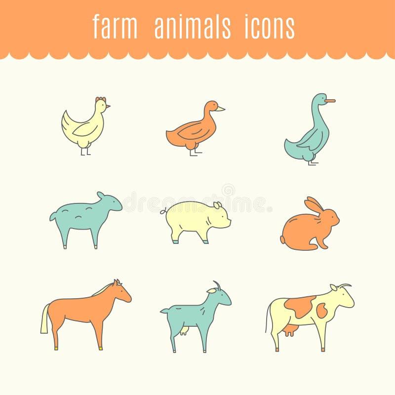 Ícones engraçados de animais de exploração agrícola ilustração stock