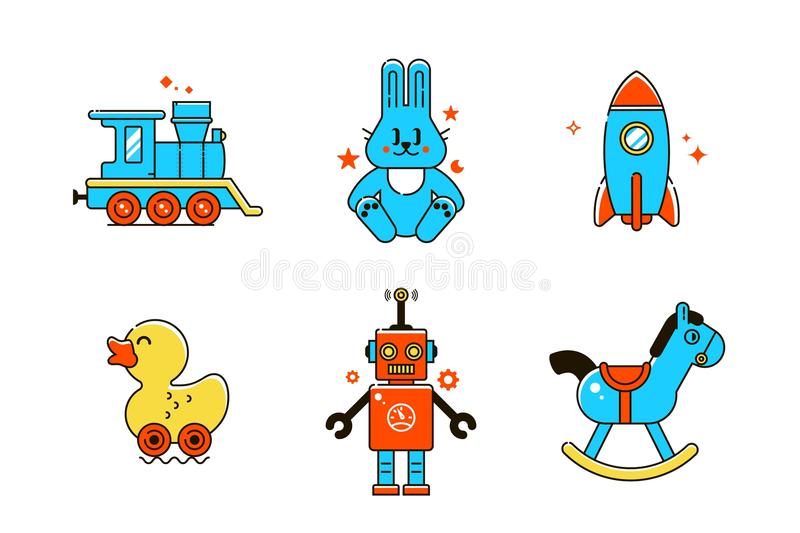 Ícones engraçados do bebê Linha colorida ilustração do vetor ilustração do vetor
