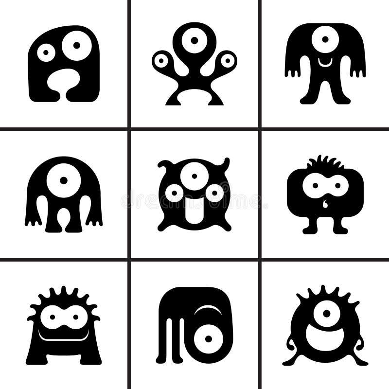 Ícones engraçados do monstro ajustados ilustração do vetor