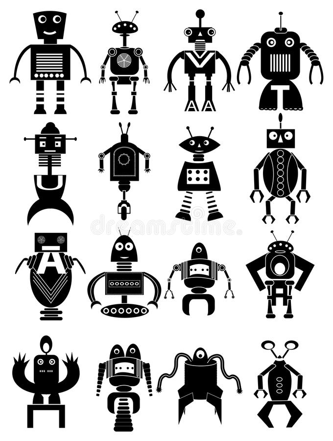 Ícones engraçados do robô ajustados ilustração stock