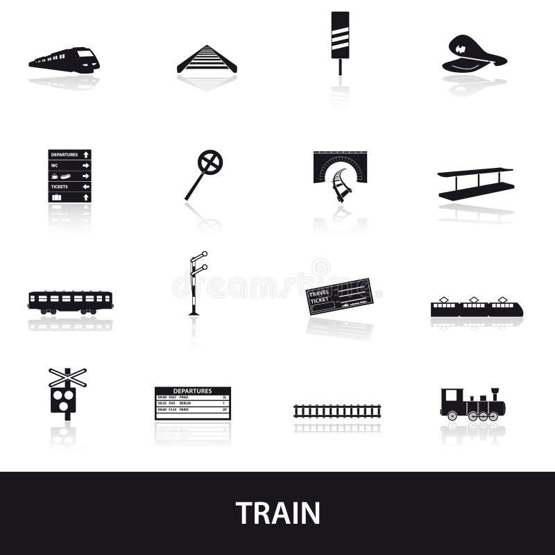 Ícones eps10 do trem e da estrada de ferro ilustração do vetor